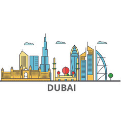 Dubai city skyline buildings streets silhouette vector