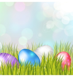 Easter bokeh background with eggs on meadow vector image