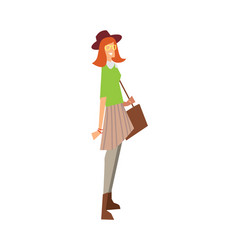 elegant fashion girl with bag and hat vector image