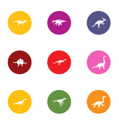 Extinct icons set flat style vector
