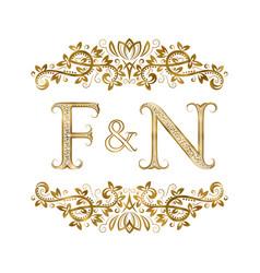 f and n vintage initials logo symbol vector image