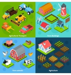Farm 4 isometric square icons coposition vector