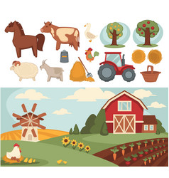 farm household or farmer agriculture and cattle vector image