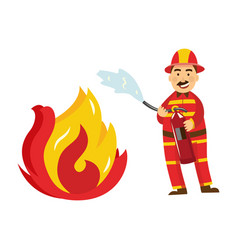 fireman in protection uniform fight fire vector image