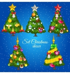 Five green Christmas trees with text vector image