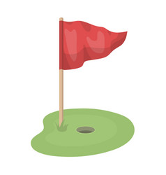 flag and golf coursegolf club single icon in vector image