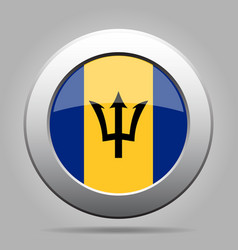 Flag of barbados shiny metal gray round button vector