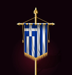 Flag of greece festive vertical banner wall vector