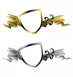 gold and silver shields vector image