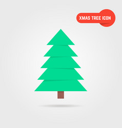 green xmas tree icon with shadow vector image