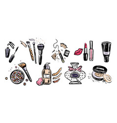 hand drawn set make up artist objects vector image