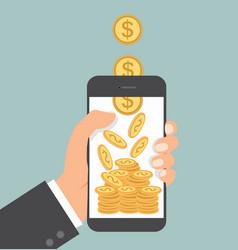 Hand holding smartphone money falling vector
