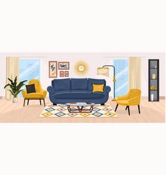 Home interior furniture composition vector