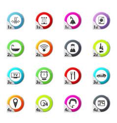 Hotel icons set elegant series vector