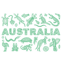Inscription australia and outline the vector