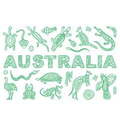 Inscription australia and outline vector