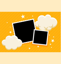 Kids style photo frames with clouds and stars vector