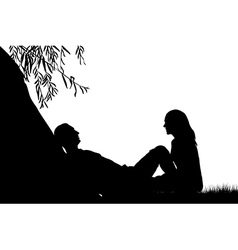 Lovers near a lake under a willow vector