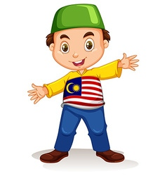 Malaysian boy wearing shirt and pants vector image