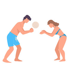 man and woman playing beach volleyball on vacation vector image