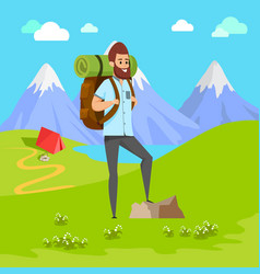 man with beard standing on rock cimber backpack vector image