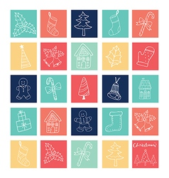 merry christmas 24 windows outline elements vector image