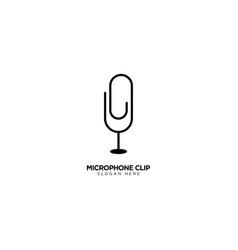 Microphone clip logo design vector