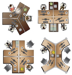 Office furniture top view set 8 vector image