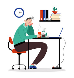 Office worker male character sitting with headache vector