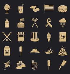 Outdoor eatery icons set simple style vector