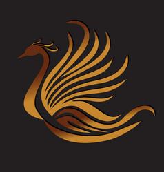 phoenix bird feather logo vector image