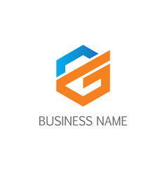 polygon line letter g business logo vector image