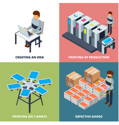 Printing office isometric printer laser colored vector