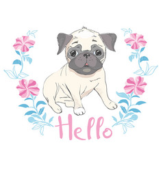 Puppy pug in a headband on pink background vector