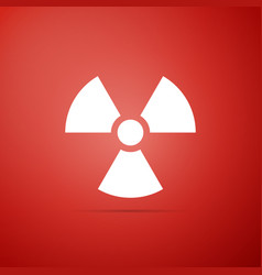 radioactive icon isolated on red background vector image