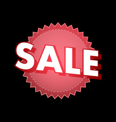 Sale sticker in red color on black vector
