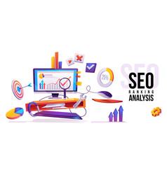 seo ranking analysis internet technology banner vector image
