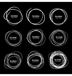 Set of 9 White Hand Drawn Scribble Circles vector image