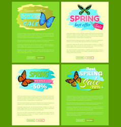 set of banners sale spring discounts offer labels vector image
