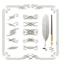 set of calligraphy design elements vector image