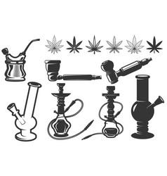 Set of cannabis leafs bongs hookahs icons vector