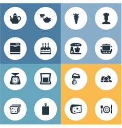 Set of simple cuisine icons vector