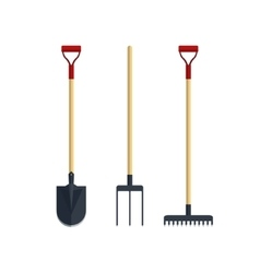 Set pitchfork shovel spade rake flat tool icon vector