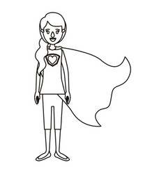 silhouette cartoon full body super hero woman with vector image