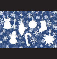 silhouettes of christmas elements on snowflakes vector image