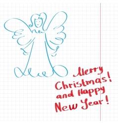 Sketchy Christmas angel vector