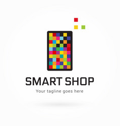 smartphone or tablet pixel colorful logo vector image