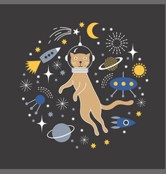 space cat vector image