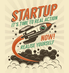 startup retro poster with a rising rocket vector image
