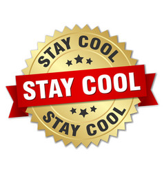 Stay cool round isolated gold badge vector